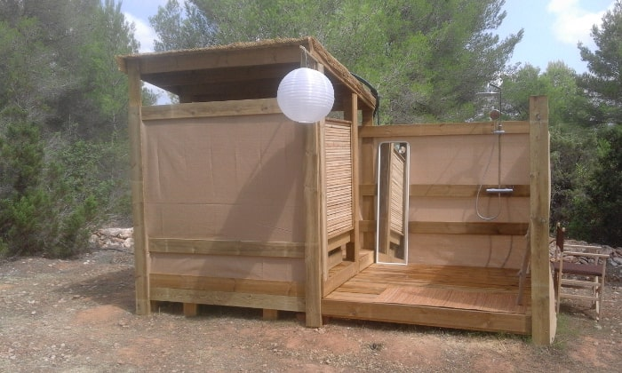 Outdoor shower and compost loo